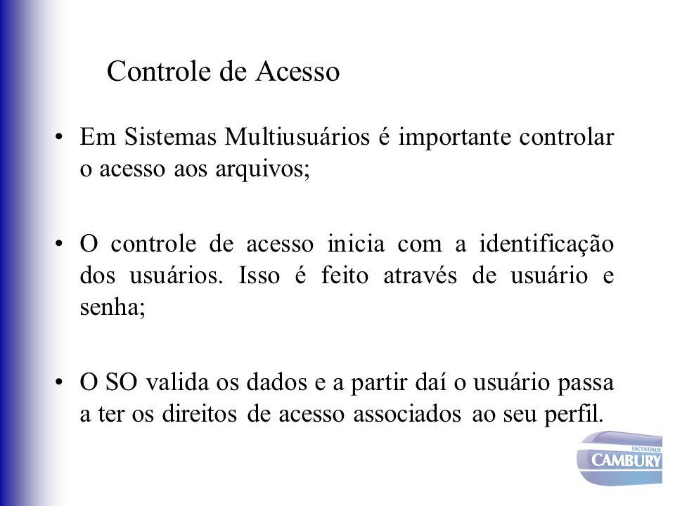 Controle de Acesso Em Sistemas Multiusuários é importante controlar o acesso aos arquivos; O controle de acesso inicia com a identificação dos usuário
