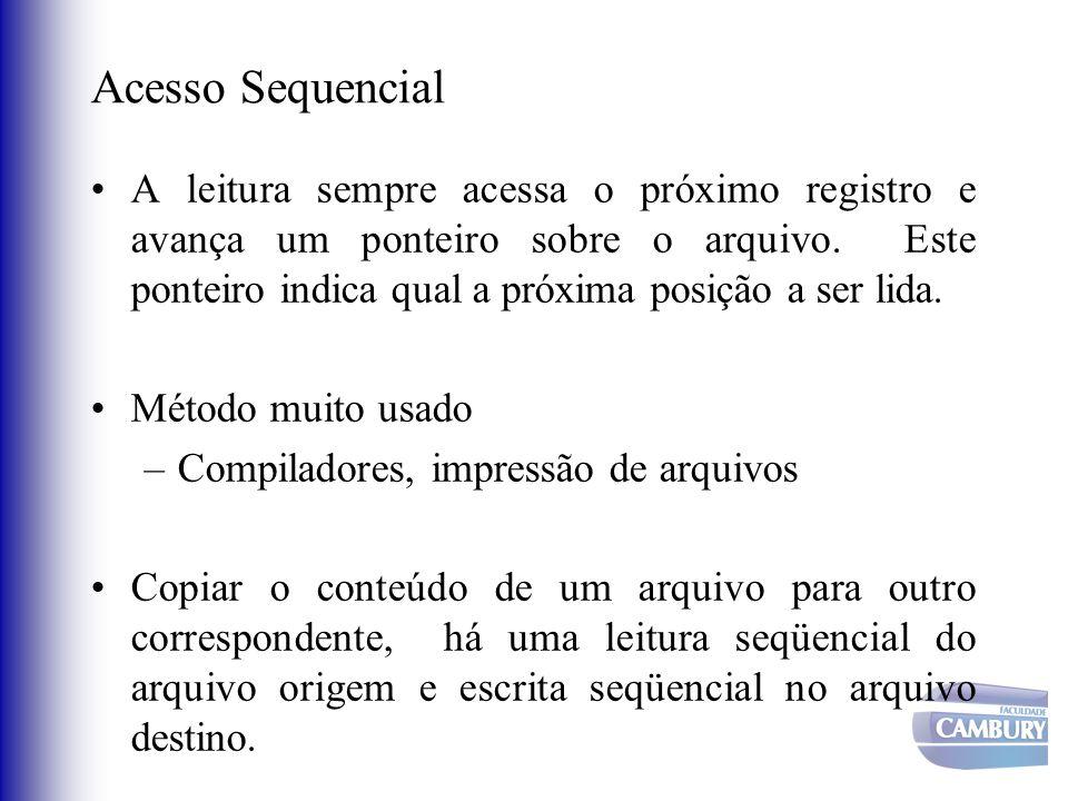 Acesso Sequencial A leitura sempre acessa o próximo registro e avança um ponteiro sobre o arquivo. Este ponteiro indica qual a próxima posição a ser l