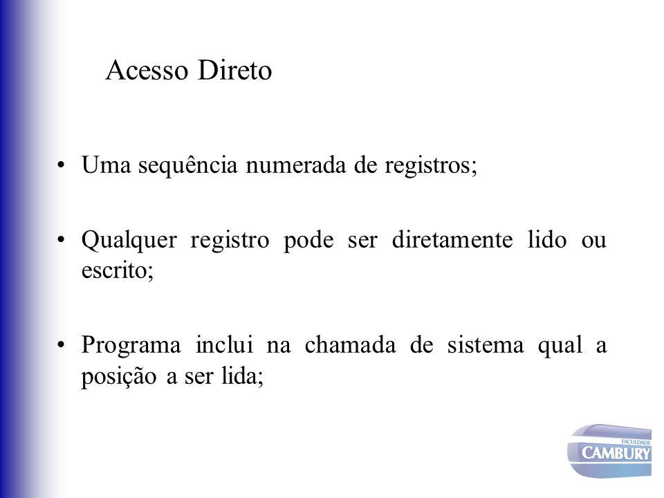 Acesso Direto Uma sequência numerada de registros; Qualquer registro pode ser diretamente lido ou escrito; Programa inclui na chamada de sistema qual