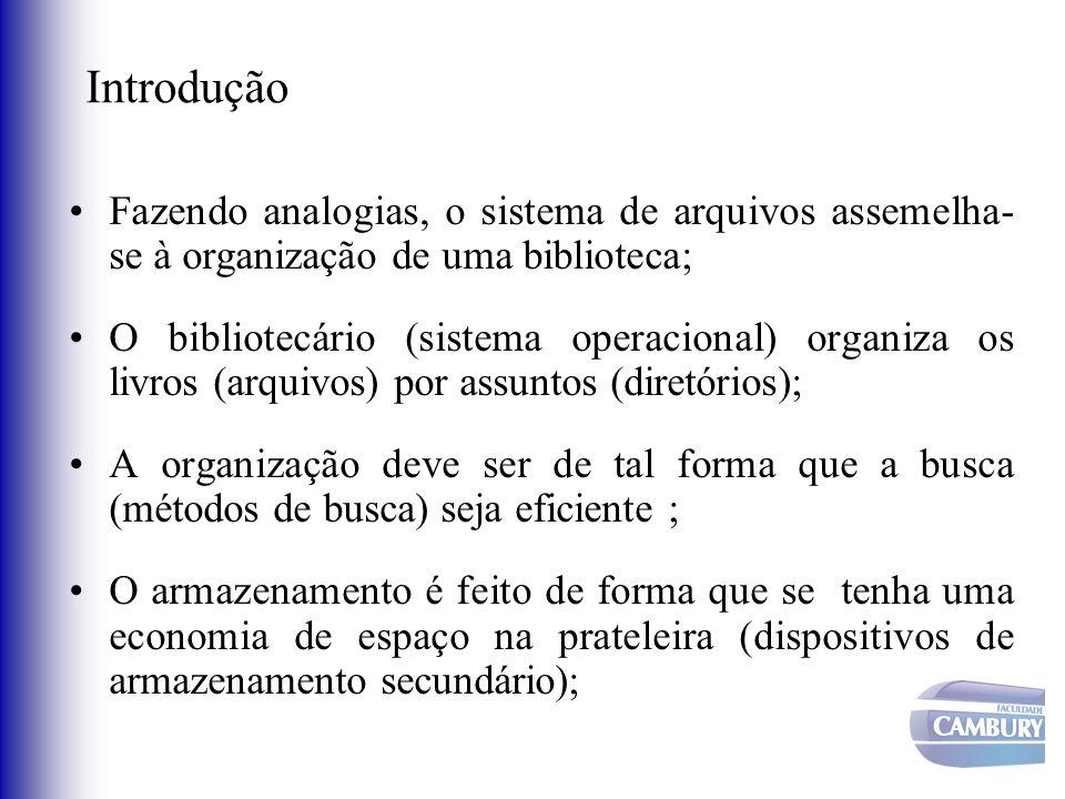 Introdução Fazendo analogias, o sistema de arquivos assemelha- se à organização de uma biblioteca; O bibliotecário (sistema operacional) organiza os l
