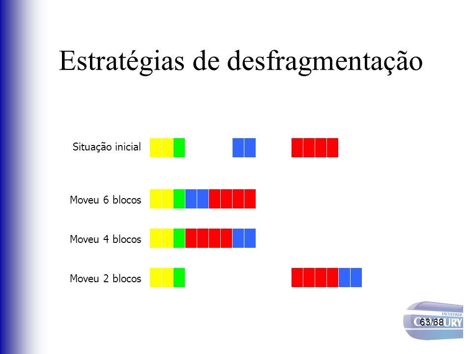 63/68 Estratégias de desfragmentação Situação inicial Moveu 6 blocos Moveu 4 blocos Moveu 2 blocos