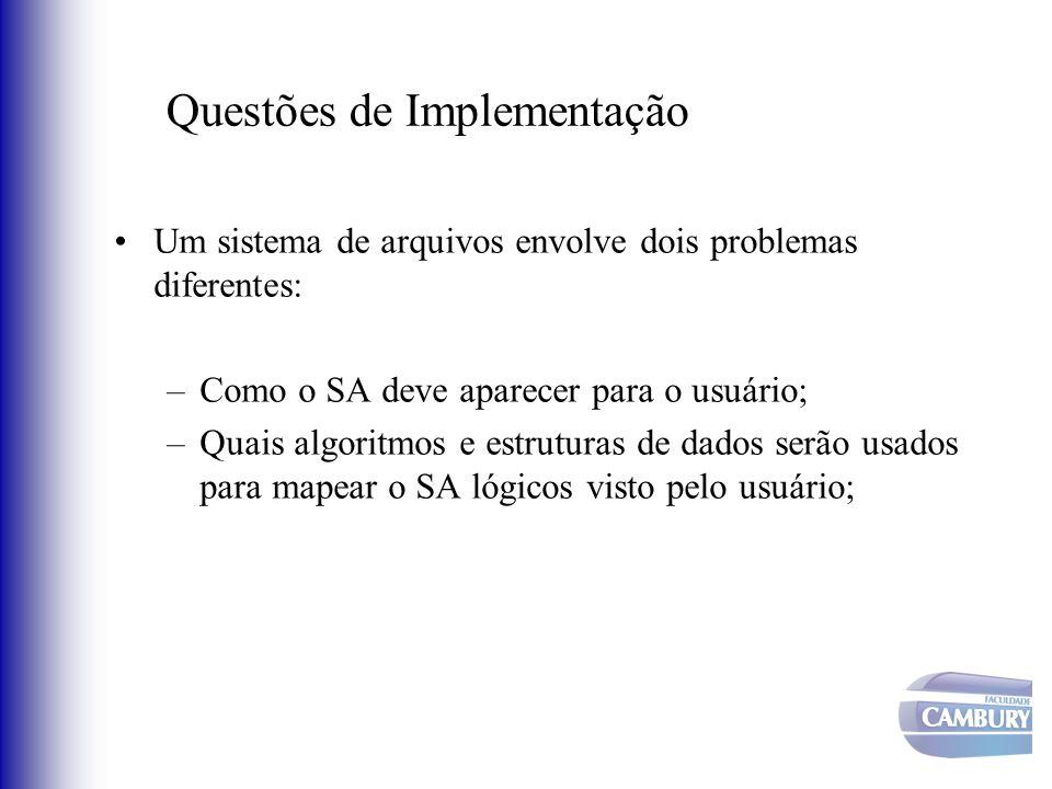 Um sistema de arquivos envolve dois problemas diferentes: –Como o SA deve aparecer para o usuário; –Quais algoritmos e estruturas de dados serão usado