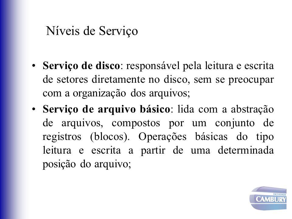 Níveis de Serviço Serviço de disco: responsável pela leitura e escrita de setores diretamente no disco, sem se preocupar com a organização dos arquivo