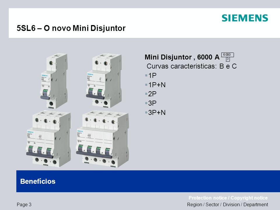 Region / Sector / Division / Department Protection notice / Copyright notice 5SL6 – O novo Mini Disjuntor Mini Disjuntor, 6000 A Curvas caracteristica