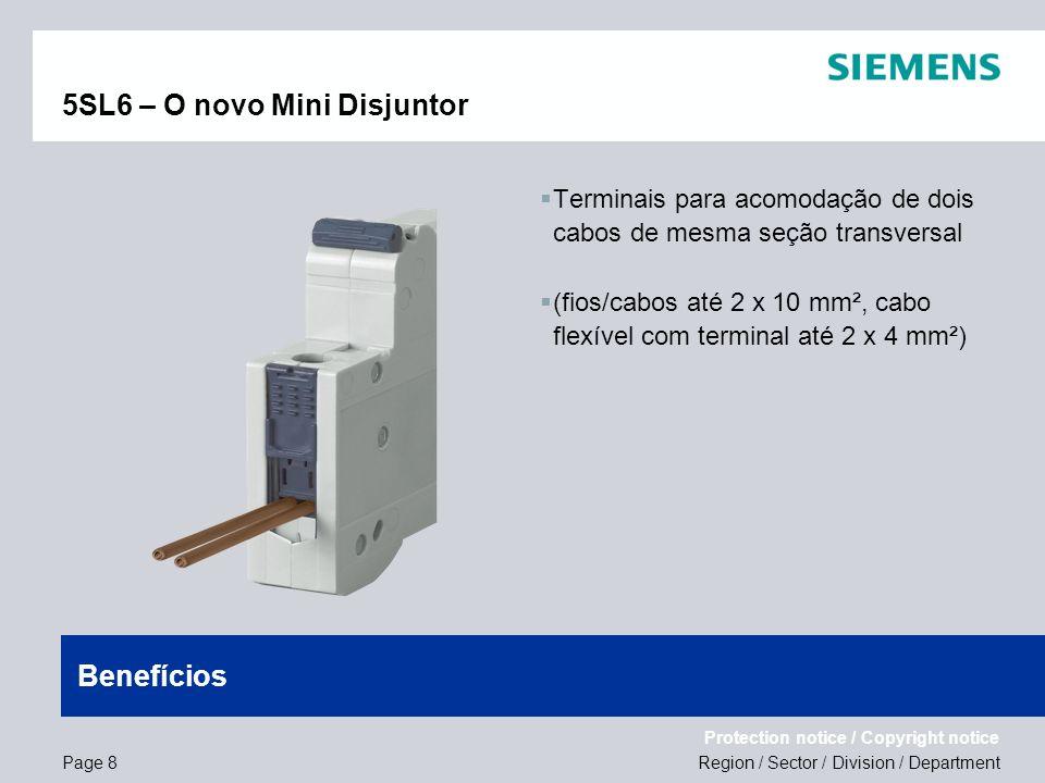Region / Sector / Division / Department Protection notice / Copyright notice 5SL6 – O novo Mini Disjuntor Terminais para acomodação de dois cabos de m