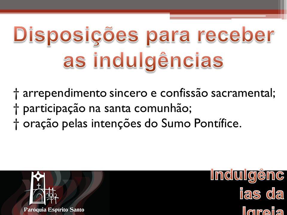 arrependimento sincero e confissão sacramental; participação na santa comunhão; oração pelas intenções do Sumo Pontífice.