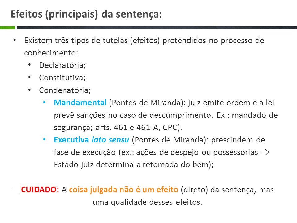 Existem três tipos de tutelas (efeitos) pretendidos no processo de conhecimento: Declaratória; Constitutiva; Condenatória; Mandamental (Pontes de Mira
