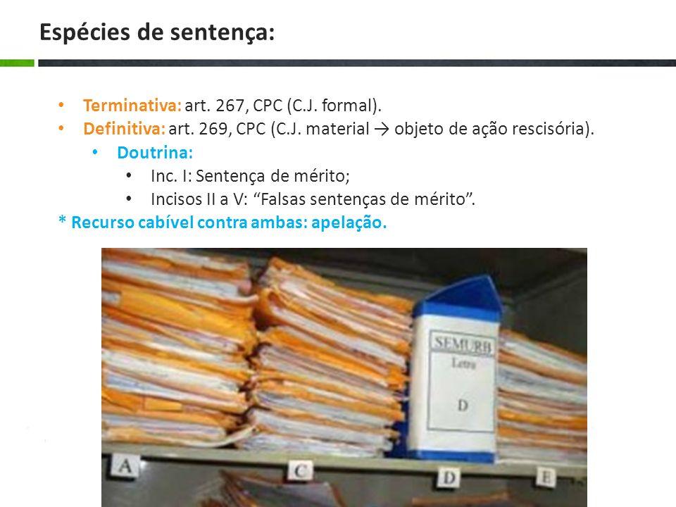 Terminativa: art. 267, CPC (C.J. formal). Definitiva: art. 269, CPC (C.J. material objeto de ação rescisória). Doutrina: Inc. I: Sentença de mérito; I