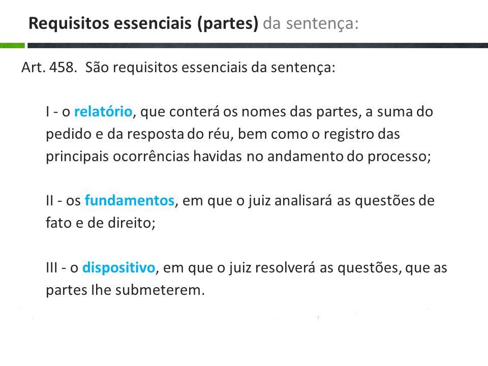 Art. 458. São requisitos essenciais da sentença: I - o relatório, que conterá os nomes das partes, a suma do pedido e da resposta do réu, bem como o r