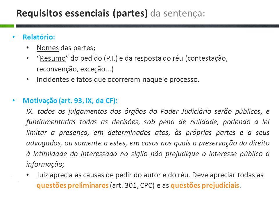 Relatório: Nomes das partes; Resumo do pedido (P.I.) e da resposta do réu (contestação, reconvenção, exceção...) Incidentes e fatos que ocorreram naqu