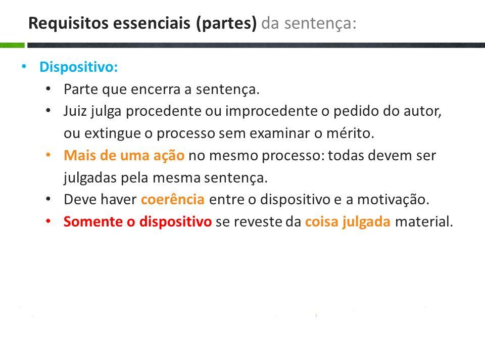 Dispositivo: Parte que encerra a sentença. Juiz julga procedente ou improcedente o pedido do autor, ou extingue o processo sem examinar o mérito. Mais