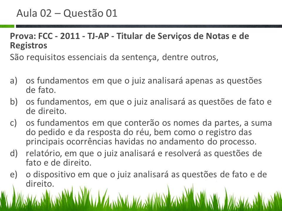 Aula 02 – Questão 01 Prova: FCC - 2011 - TJ-AP - Titular de Serviços de Notas e de Registros São requisitos essenciais da sentença, dentre outros, a)o