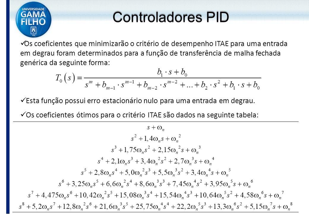Controladores PID Os coeficientes que minimizarão o critério de desempenho ITAE para uma entrada em degrau foram determinados para a função de transfe
