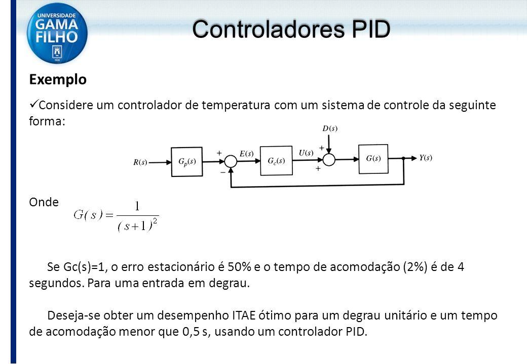 Exemplo Considere um controlador de temperatura com um sistema de controle da seguinte forma: Onde Se Gc(s)=1, o erro estacionário é 50% e o tempo de