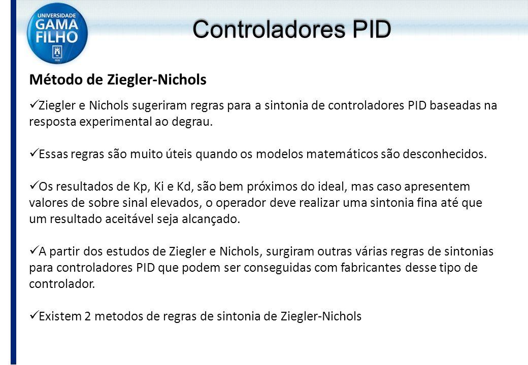 Método de Ziegler-Nichols Ziegler e Nichols sugeriram regras para a sintonia de controladores PID baseadas na resposta experimental ao degrau. Essas r