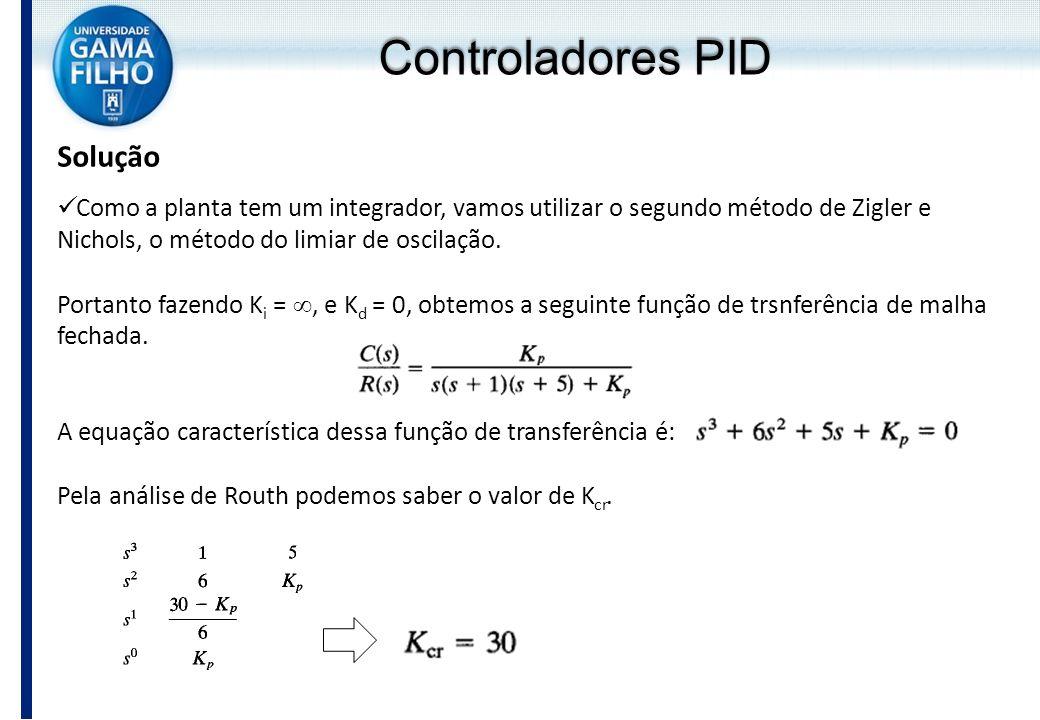 Solução Como a planta tem um integrador, vamos utilizar o segundo método de Zigler e Nichols, o método do limiar de oscilação. Portanto fazendo K i =,
