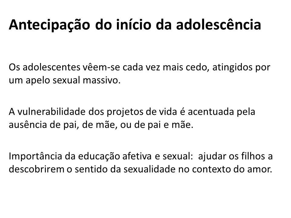 Antecipação do início da adolescência Os adolescentes vêem-se cada vez mais cedo, atingidos por um apelo sexual massivo. A vulnerabilidade dos projeto