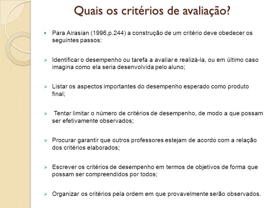 Quais os critérios de avaliação? Para Airasian (1996,p.244) a construção de um critério deve obedecer os seguintes passos: Identificar o desempenho ou