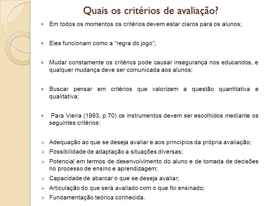 Quais os critérios de avaliação? Em todos os momentos os critérios devem estar claros para os alunos; Eles funcionam como a regra do jogo; Mudar const