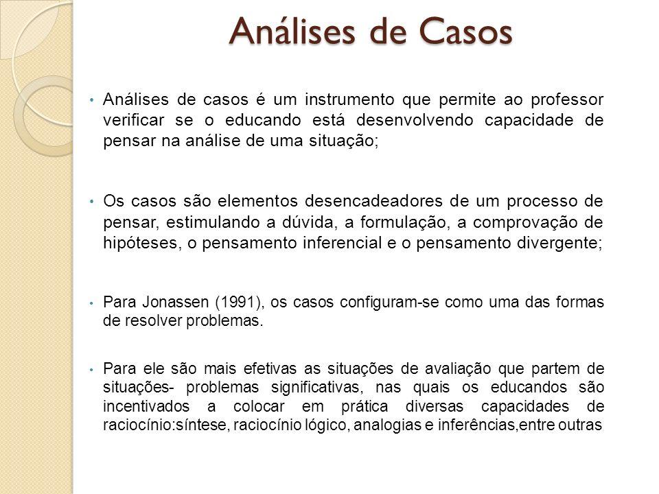 Análises de casos é um instrumento que permite ao professor verificar se o educando está desenvolvendo capacidade de pensar na análise de uma situação