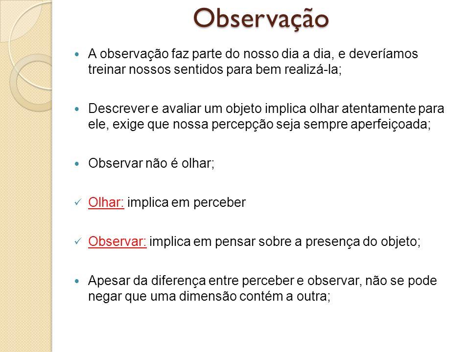 Observação A observação faz parte do nosso dia a dia, e deveríamos treinar nossos sentidos para bem realizá-la; Descrever e avaliar um objeto implica