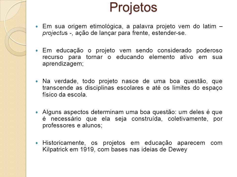 Projetos Em sua origem etimológica, a palavra projeto vem do latim – projectus -, ação de lançar para frente, estender-se. Em educação o projeto vem s