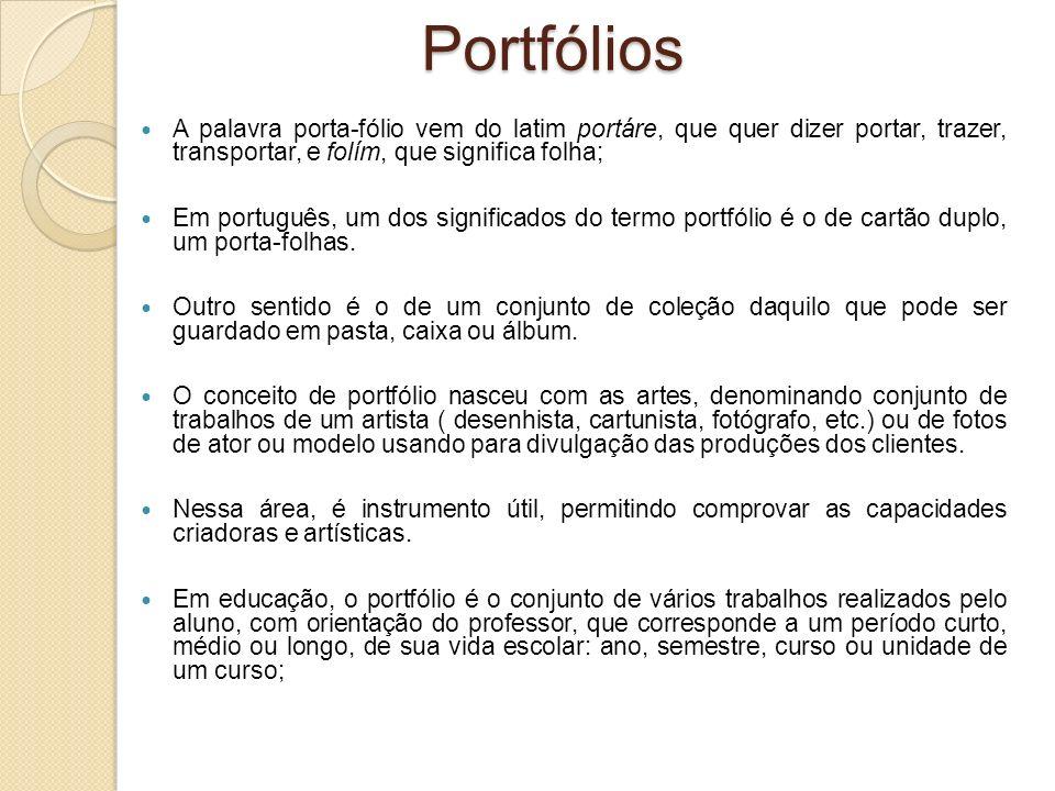 Portfólios A palavra porta-fólio vem do latim portáre, que quer dizer portar, trazer, transportar, e folím, que significa folha; Em português, um dos