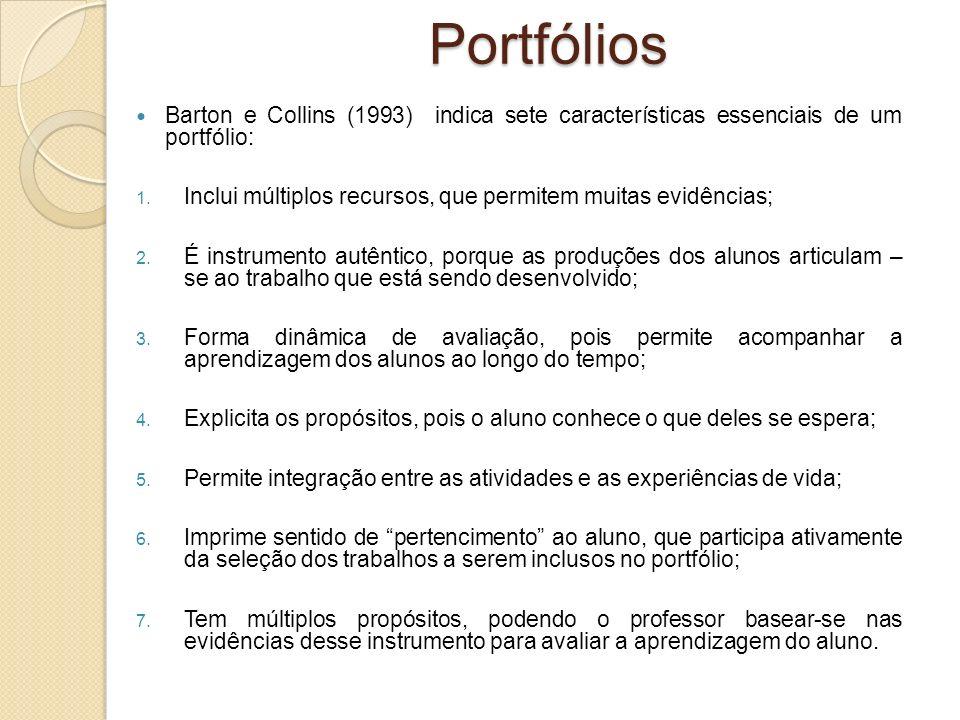 Barton e Collins (1993) indica sete características essenciais de um portfólio: 1. Inclui múltiplos recursos, que permitem muitas evidências; 2. É ins