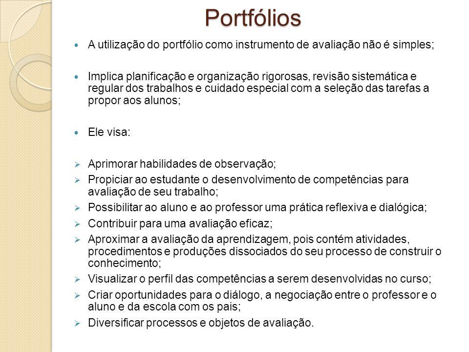 A utilização do portfólio como instrumento de avaliação não é simples; Implica planificação e organização rigorosas, revisão sistemática e regular dos