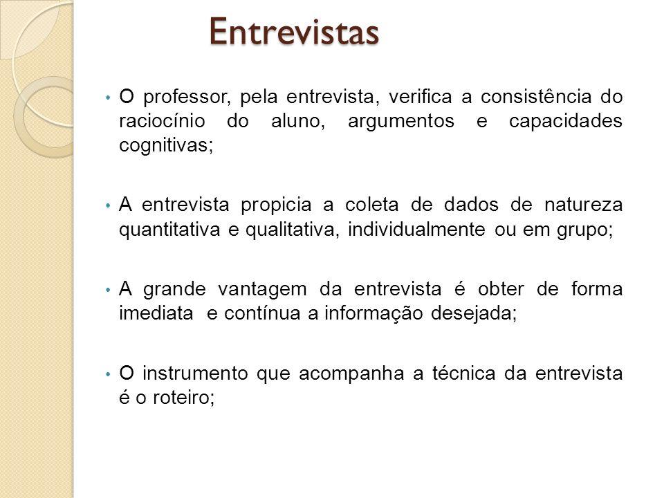 O professor, pela entrevista, verifica a consistência do raciocínio do aluno, argumentos e capacidades cognitivas; A entrevista propicia a coleta de d