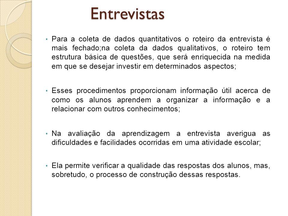 Para a coleta de dados quantitativos o roteiro da entrevista é mais fechado;na coleta da dados qualitativos, o roteiro tem estrutura básica de questõe