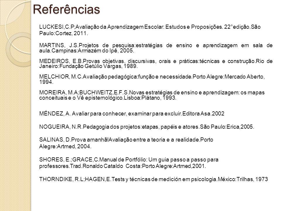 Referências LUCKESI,C.P;Avaliação da Aprendizagem Escolar: Estudos e Proposições. 22°edição.São Paulo:Cortez, 2011. MARTINS, J.S.Projetos de pesquisa: