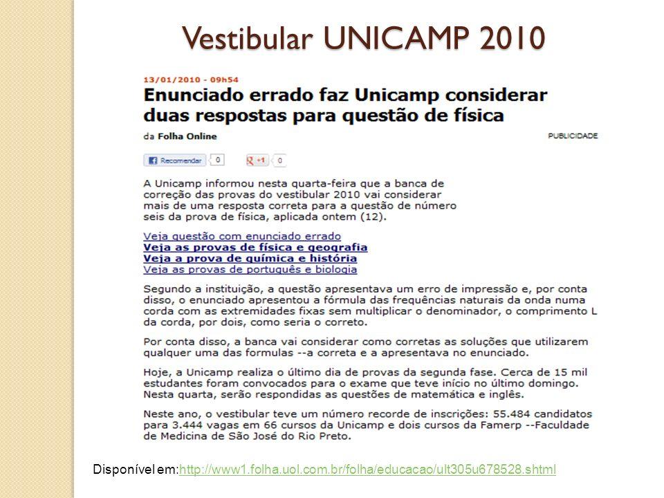 Vestibular UNICAMP 2010 Disponível em:http://www1.folha.uol.com.br/folha/educacao/ult305u678528.shtmlhttp://www1.folha.uol.com.br/folha/educacao/ult30