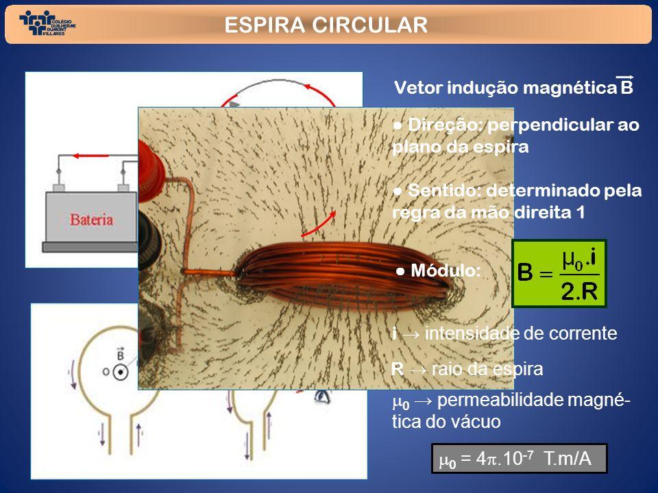 ESPIRA CIRCULAR B Vetor indução magnética B Direção: perpendicular ao plano da espira Sentido: determinado pela regra da mão direita 1 Módulo: i inten
