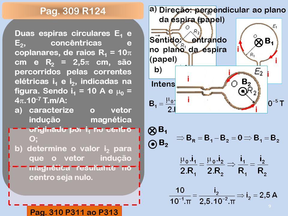 Duas espiras circulares E 1 e E 2, concêntricas e coplanares, de raios R 1 = 10 cm e R 2 = 2,5 cm, são percorridos pelas correntes elétricas i 1 e i 2