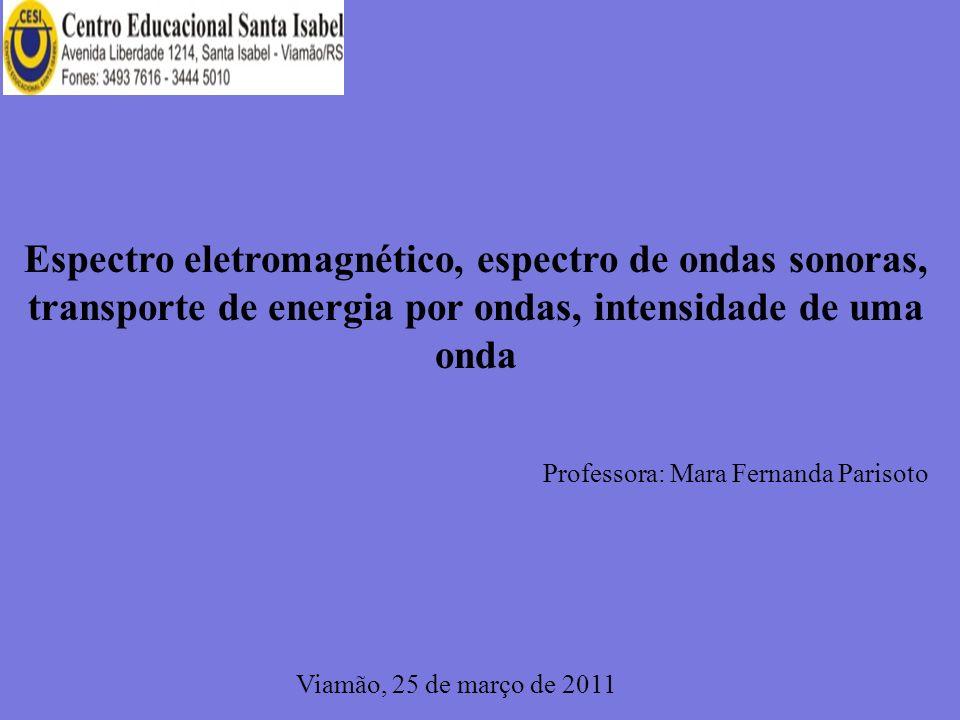 Espectro eletromagnético, espectro de ondas sonoras, transporte de energia por ondas, intensidade de uma onda Professora: Mara Fernanda Parisoto Viamão, 25 de março de 2011
