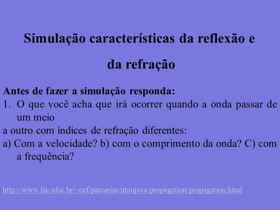 Simulação características da reflexão e da refração Antes de fazer a simulação responda: 1.O que você acha que irá ocorrer quando a onda passar de um