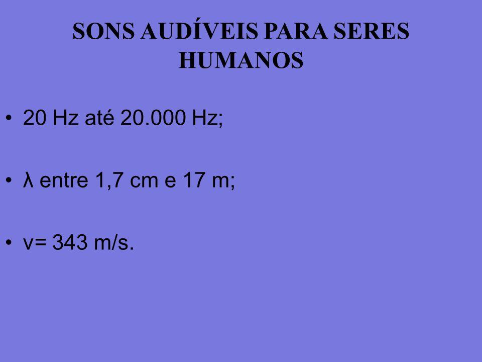 SONS AUDÍVEIS PARA SERES HUMANOS 20 Hz até 20.000 Hz; λ entre 1,7 cm e 17 m; v= 343 m/s.