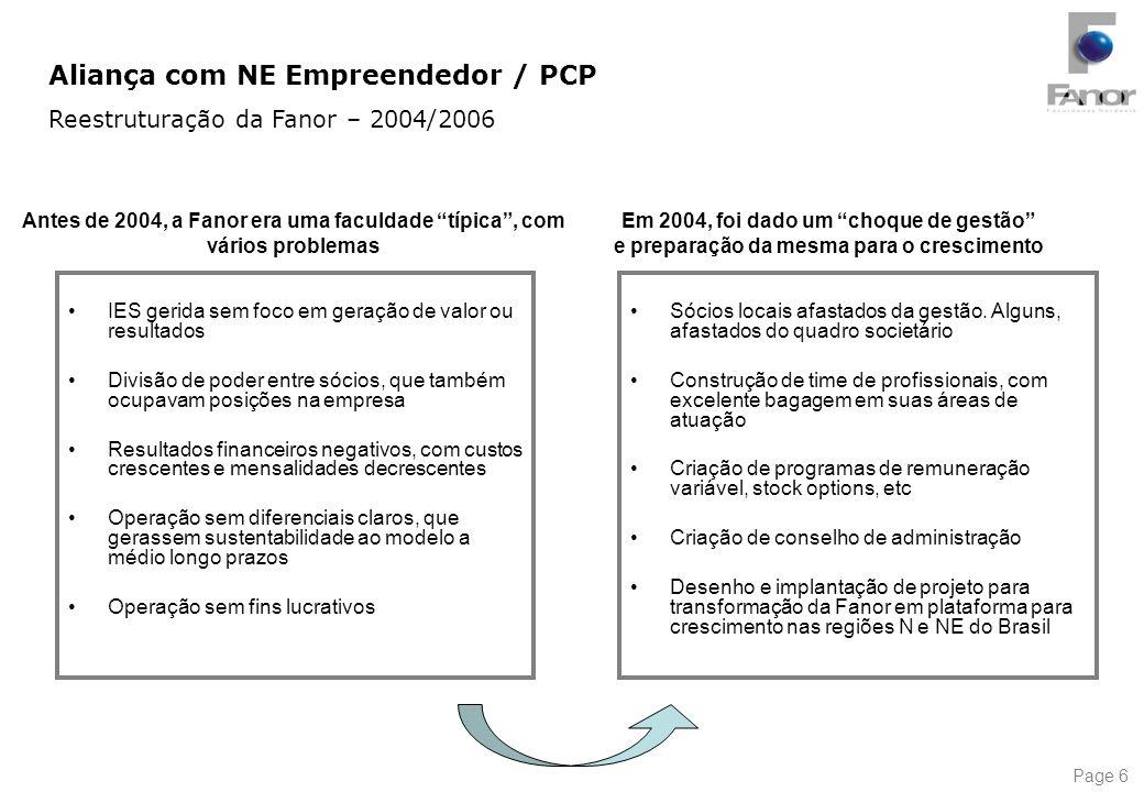Page 6 Em 2004, foi dado um choque de gestão e preparação da mesma para o crescimento IES gerida sem foco em geração de valor ou resultados Divisão de
