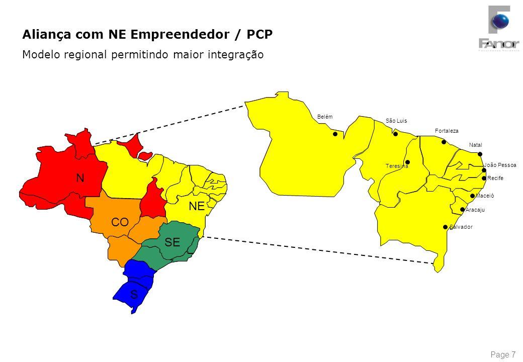 Page 7 S SE CO N NE Fortaleza São Luis João Pessoa Natal Recife Salvador Belém Teresina Maceió Aracaju Aliança com NE Empreendedor / PCP Modelo region
