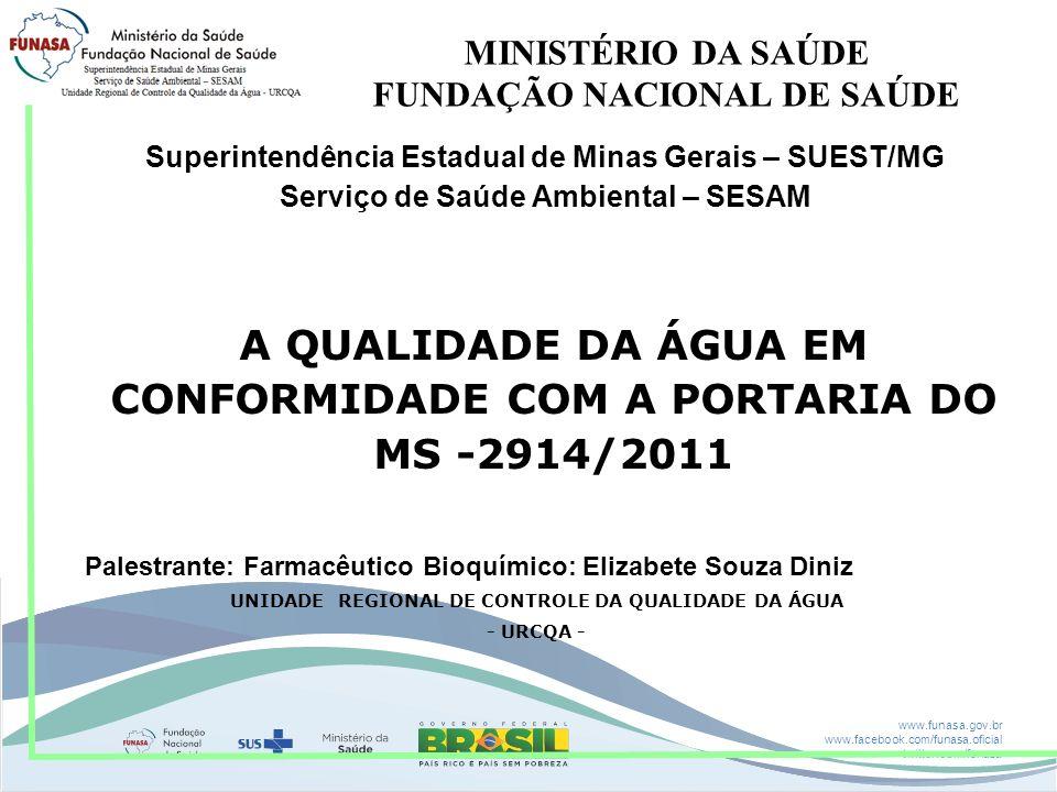www.funasa.gov.br www.facebook.com/funasa.oficial twitter.com/funasa MINISTÉRIO DA SAÚDE FUNDAÇÃO NACIONAL DE SAÚDE Superintendência Estadual de Minas