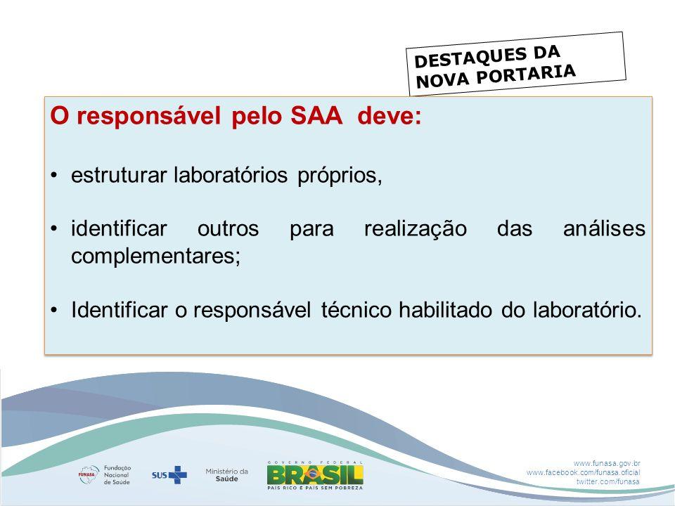 www.funasa.gov.br www.facebook.com/funasa.oficial twitter.com/funasa DESTAQUES DA NOVA PORTARIA O responsável pelo SAA deve: estruturar laboratórios p