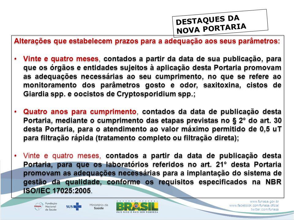 www.funasa.gov.br www.facebook.com/funasa.oficial twitter.com/funasa DESTAQUES DA NOVA PORTARIA Alterações que estabelecem prazos para a adequação aos