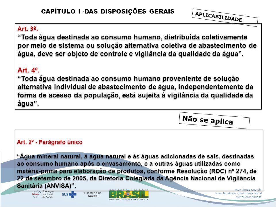 www.funasa.gov.br www.facebook.com/funasa.oficial twitter.com/funasa APLICABILIDADE Art. 3º. Toda água destinada ao consumo humano, distribuída coleti