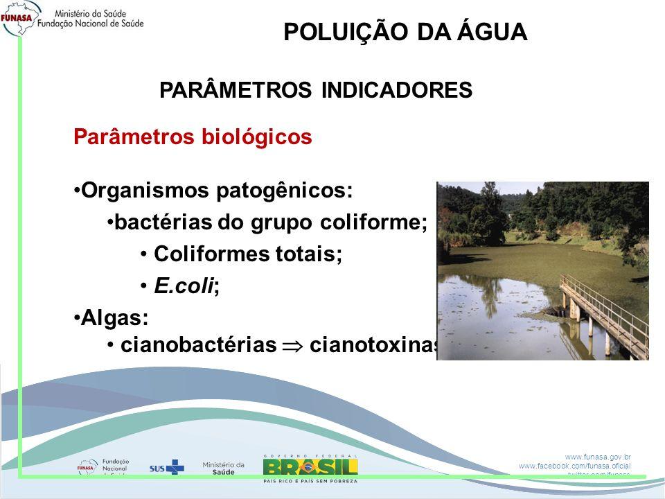 www.funasa.gov.br www.facebook.com/funasa.oficial twitter.com/funasa POLUIÇÃO DA ÁGUA PARÂMETROS INDICADORES Parâmetros biológicos Organismos patogêni