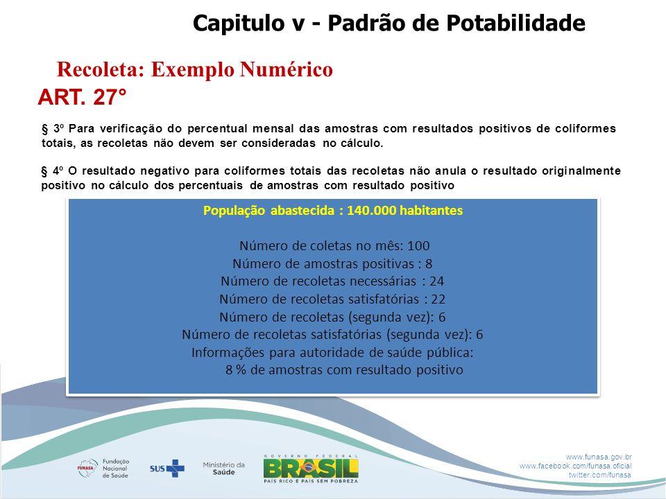 www.funasa.gov.br www.facebook.com/funasa.oficial twitter.com/funasa População abastecida : 140.000 habitantes Número de coletas no mês: 100 Número de