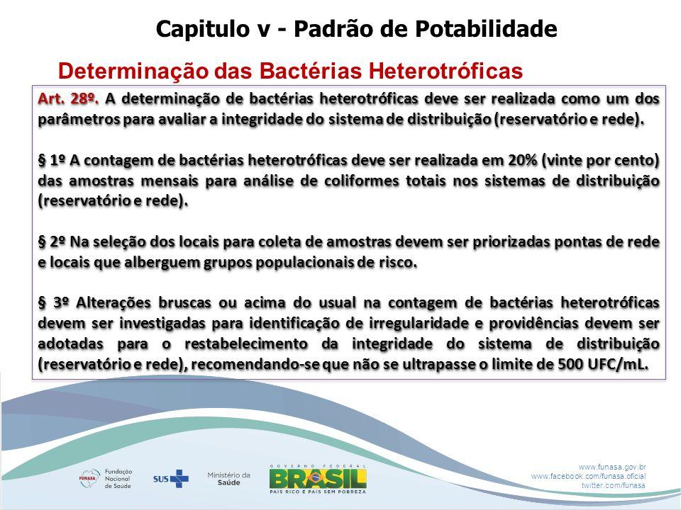 www.funasa.gov.br www.facebook.com/funasa.oficial twitter.com/funasa Capitulo v - Padrão de Potabilidade Determinação das Bactérias Heterotróficas Art