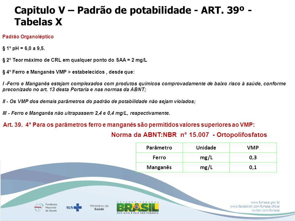 www.funasa.gov.br www.facebook.com/funasa.oficial twitter.com/funasa Capitulo V – Padrão de potabilidade - ART. 39º - Tabelas X Padrão Organoléptico §