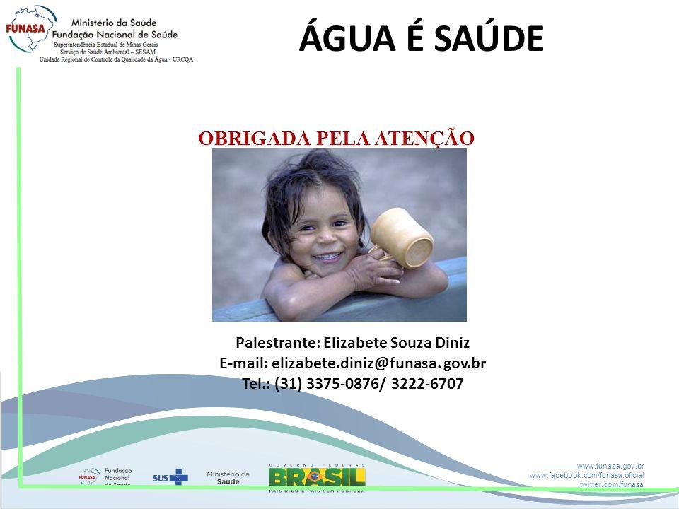 www.funasa.gov.br www.facebook.com/funasa.oficial twitter.com/funasa Palestrante: Elizabete Souza Diniz E-mail: elizabete.diniz@funasa. gov.br Tel.: (