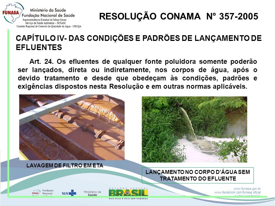 www.funasa.gov.br www.facebook.com/funasa.oficial twitter.com/funasa Água Qualidade RESOLUÇÃO CONAMA N° 357 DELIBERAÇÃO NORMATIVA COPAM N° 1 RESOLUÇÃO CONAMA N° 396 PROCESSOS DE TRATAMENTO PORTARIA N° 2914/11 M.S Água potável para consumo humano